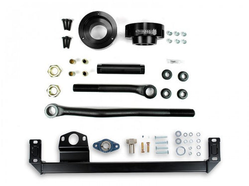 Sinister Diesel - SD-DODGE-TB-SBS-LVL-BLK-10 - Sinister Diesel Adjustable Track Bar, Steering Box Support, and Leveling Kit for Dodge Cummins 2010-2012 4WD (Black)