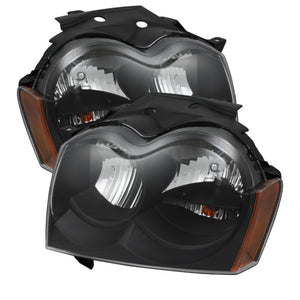 Xtune Jeep Grand Cherokee 05-07 Crystal Headlights Black HD-JH-JGC05-AM-BK