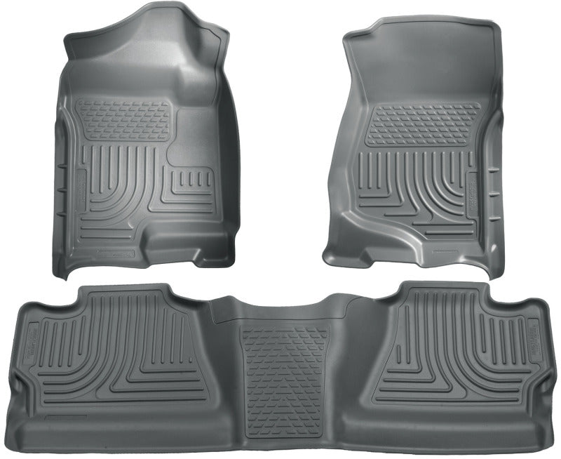 Husky Liners 07-12 Chevy Silverado/GMC Sierra Crew Cab WeatherBeater Combo Gray Floor Liners