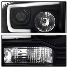 Spyder Ford F250/350/450 05-07 Projector Headlights - Light Bar DRL LED - Black PRO-YD-FS05V2-LB-BK