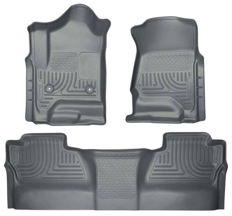 Husky Liners 14 Chevrolet Silverado/GMC Sierra WeatherBeater Grey Front & 2nd Seat Floor Liners