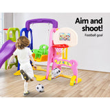 Kids 7-in-1 Slide Swing with Basketball Hoop