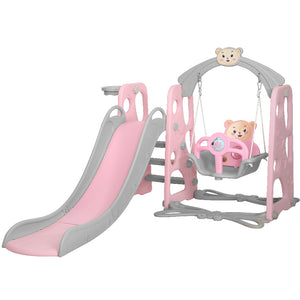 Keezi Kids Slide Swing Basketball Hoop Activity Center Toddlers Play Set Pink
