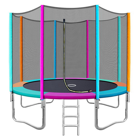 10FT Trampoline Round Trampolines Kids Enclosure Safety Net Pad Outdoor Multi-coloured Flat