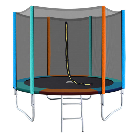 8FT Trampoline Round Trampolines Kids Enclosure Safety Net Pad Outdoor Multi-coloured Flat