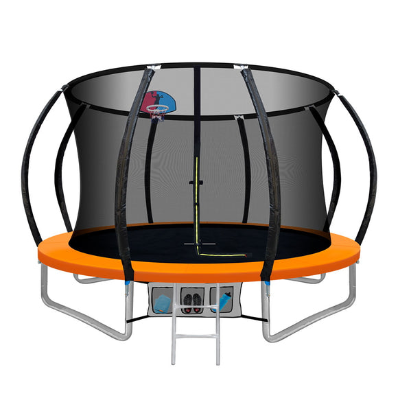 10FT Trampoline Round Trampolines With Basketball Hoop Kids Present Gift Enclosure Safety Net Pad Outdoor Orange