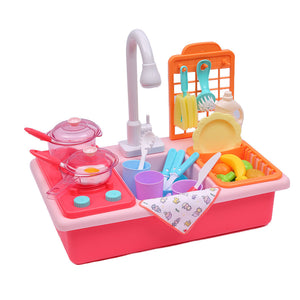 35x Kids Kitchen Play Set Dishwasher Sink Dishes Toys Cookware Pretend Play Pink