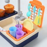 35x Kids Kitchen Play Set Dishwasher Sink Dishes Toys Cookware Pretend Play Blue