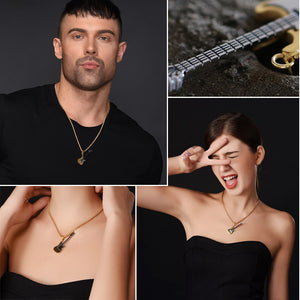 U7 Guitar Necklace For Men/Women Music Lover Gift Black/Gold Color Stainless Steel Pendant & Chain Hip Hop Rock Jewelry P810