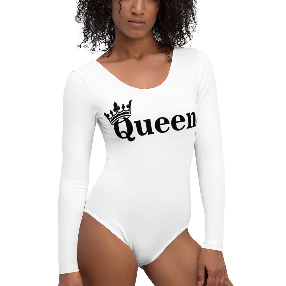 Queen White Long Sleeve Bodysuit