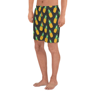 All-Over Pineapple Print Men's Athletic Long Shorts
