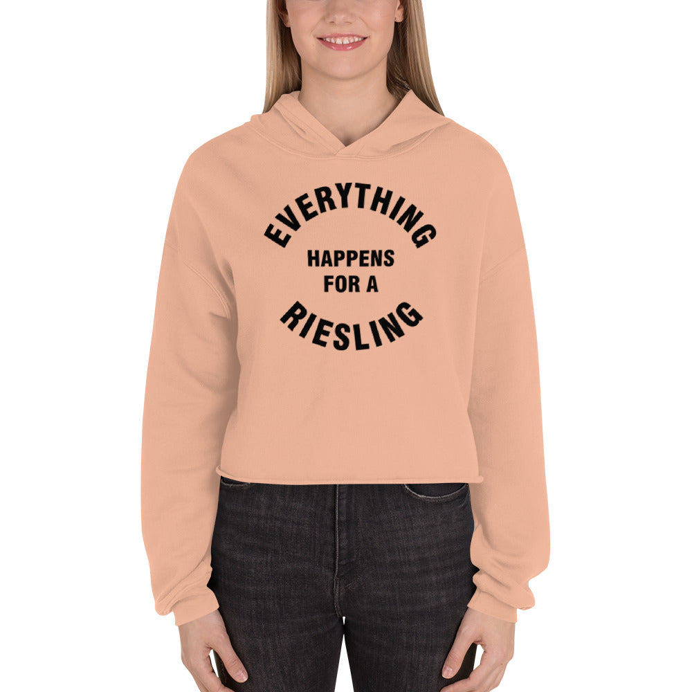 Everything Happens for a Riesling Crop Hoodie