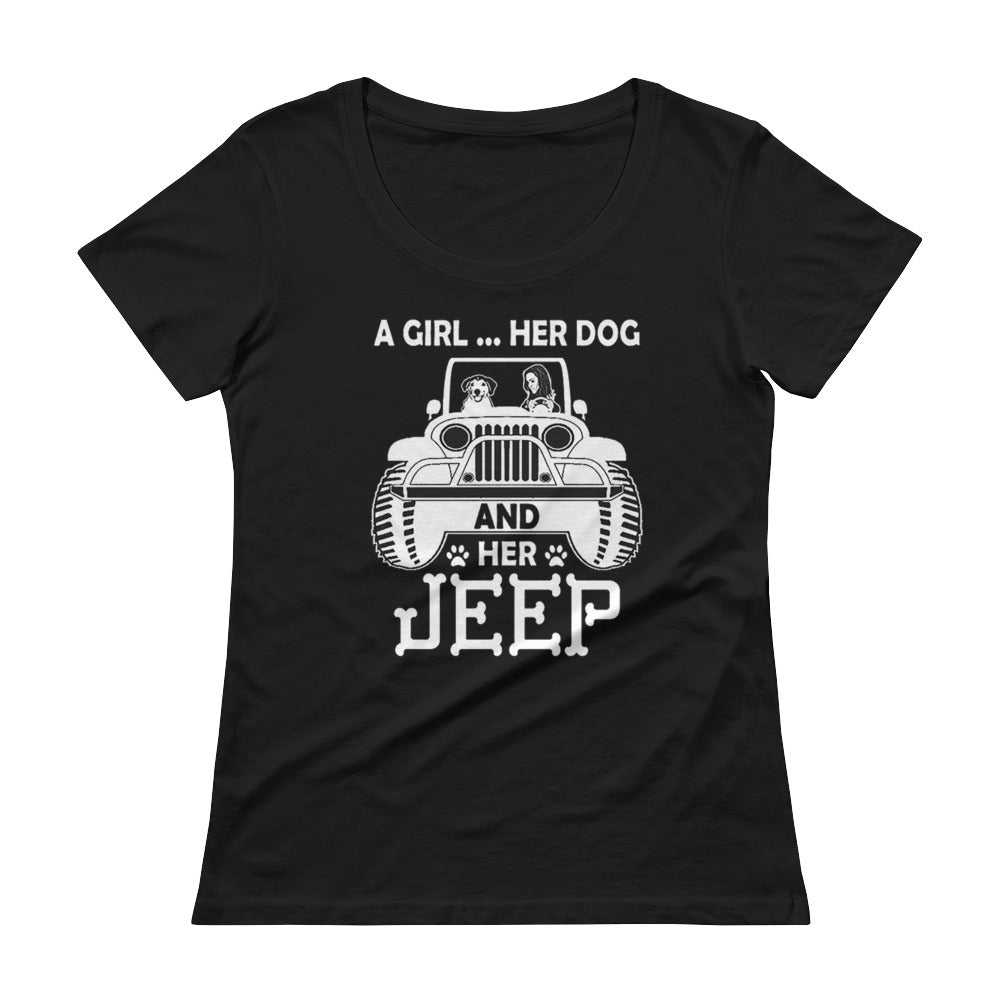 Dog & Jeep Love Ladies' Scoopneck T-Shirt