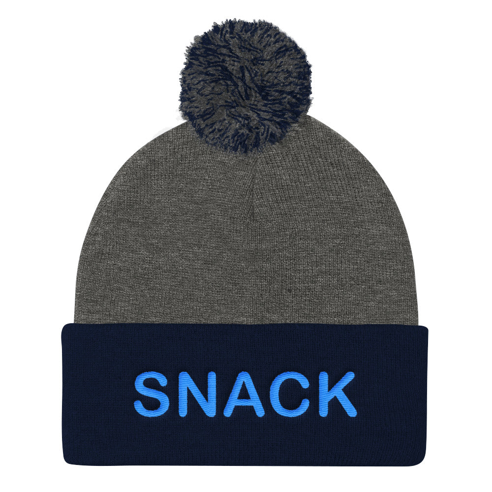 Snack Pom Beanie (blue embroidery)