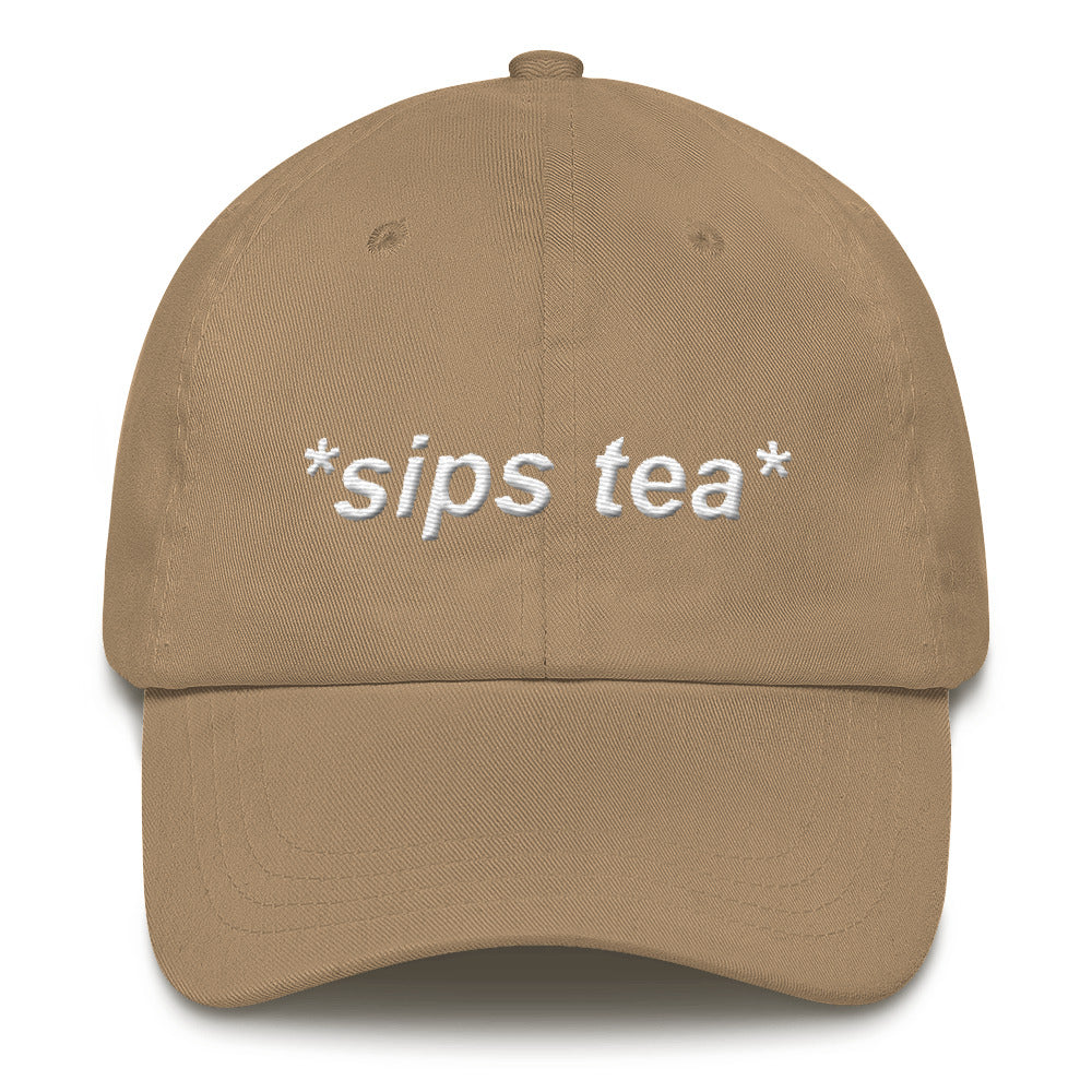 *sips tea* white embroidery dad hat