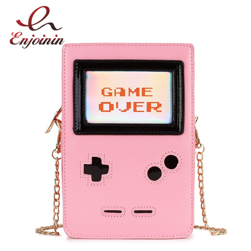 Fun Fashion Pink Game Machine GAME OVER Pu Leather Ladies Purse and Handbag Clutch Bag Women Shoulder Bag Crossbody Bah Flap