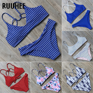 RUUHEE Bikini Swimwear Women Swimsuit 2018 Halter Bathing Suit Brand Beachwear Push Up Maillot De Bain Femme Mid Cut Bikini Set