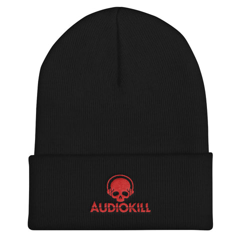 AUDIOKILL Cuffed Beanie - BLACK / RED