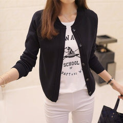 Korean women's cardigan sweater coat a thin and short - cybernetshop