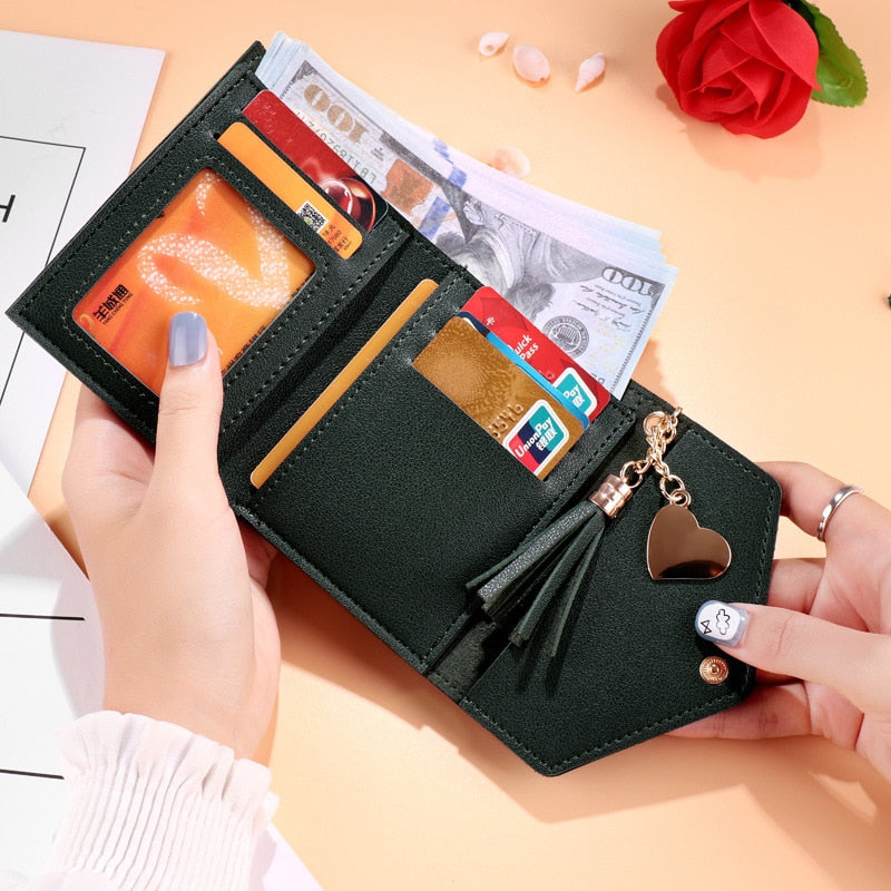 Mini Tassel Wallet Women Fashion Purse Female Short Mini Wallets for Women - cybernetshop