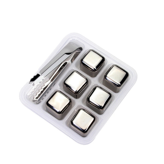 Stainless Steel Ice Cubes, Reusable Chilling Stones for Whiskey Wine, Keep Your Drink Cold Longer, SGS Test Pass - cybernetshop