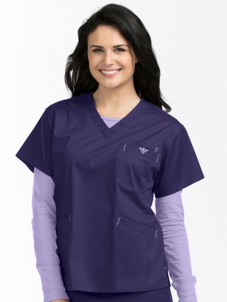Med Couture V-Neckline Signature 3 Pocket Top XXS-M - Pure Hearts Scrubs