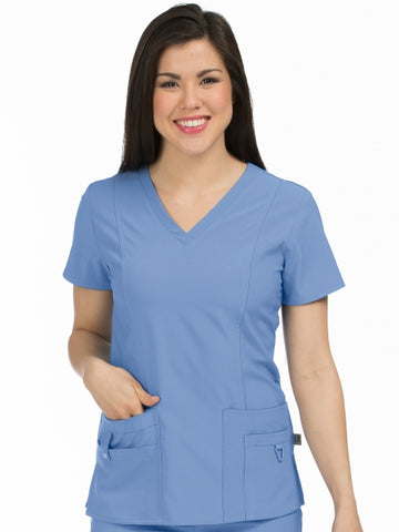 Women's In Motion V-Neck Solid Scrub Top XS-XL - Pure Hearts Scrubs