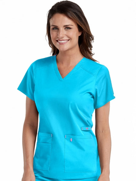 Women's V-Neck Strength Solid Scrub Top - Pure Hearts Scrubs