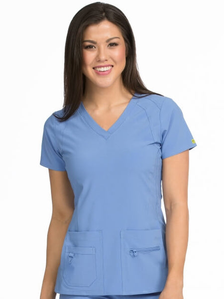 Women's Refined V-Neck Solid Scrub Top XXS-3X - Pure Hearts Scrubs