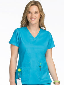 Women's Flex-It V-Neck Solid Scrub Top 2X-3X - Pure Hearts Scrubs