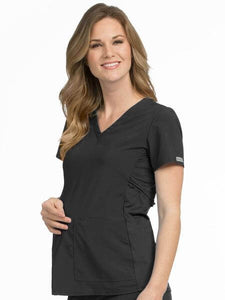 Women's Maternity 4 Way Stretch V-Neck Solid Scrub Top - Pure Hearts Scrubs