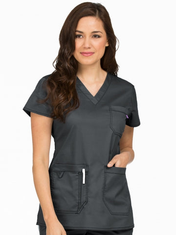 Women's Niki V-Neck Solid Scrub Top - Pure Hearts Scrubs