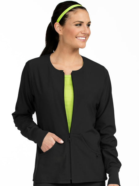Women's Warm Terrain Zip Up Solid Scrub Jacket - Pure Hearts Scrubs