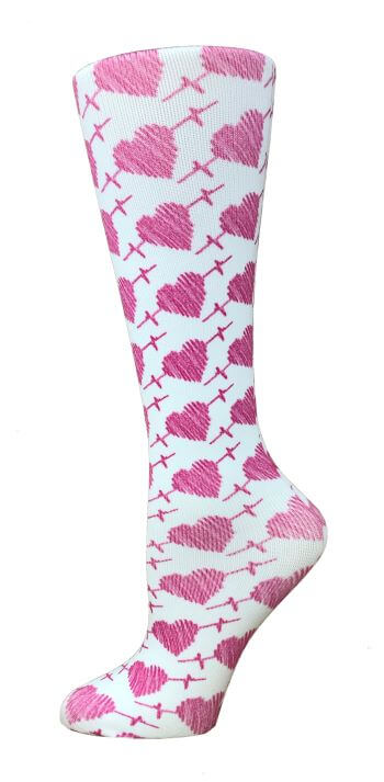 10-18 mmHg Knit Compression Socks –EKG Hearts - Pure Hearts Scrubs