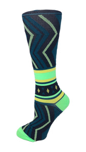8-15 mmHg Doctor's Choice Compression Socks – Green Chevron - Pure Hearts Scrubs