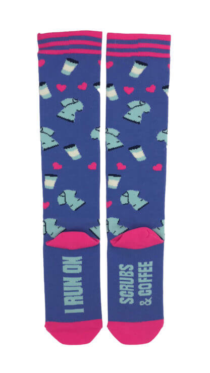 8-15 mmHg Doctor's Choice Compression Socks – I Run on Coffee and Scrubs - Pure Hearts Scrubs