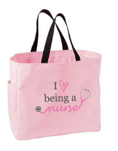Love Being a Nurse Tote Bag – Light Pink - Pure Hearts Scrubs
