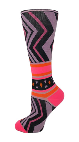 8-15 mmHg Doctor's Choice Compression Socks – Pink Chevron - Pure Hearts Scrubs