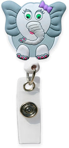 3D Rubber Retractable Badge Reel – Elephant - Pure Hearts Scrubs