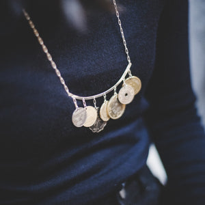 She Who Wanders Statement Coin Necklace Silver, Gold and Bronze