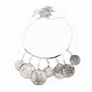 She Who Wanders Statement Coin Necklace Silver