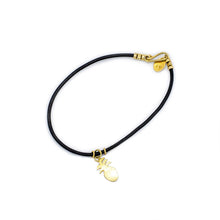 The Pineapple Bracelet Black Leather with 18k Gold Plated Hardware