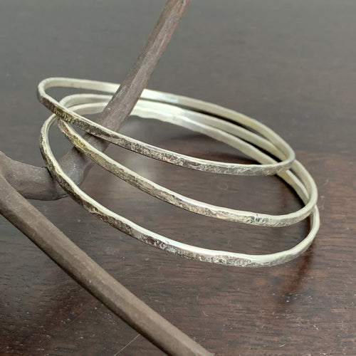 Black Rock Stacked Bangles Sterling Silver