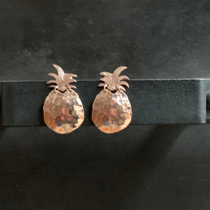 The Pineapples Stud Earrings 18k Rose Gold Plated