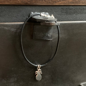 The Pineapple Bracelet Black Leather with Sterling Silver Hardware