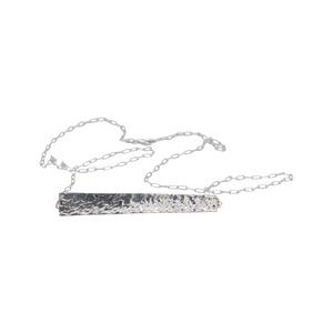 Horizon Hammered Bar Necklace Sterling Silver