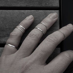 Resistance Adjustable Stacked Ring Sterling Silver Smooth