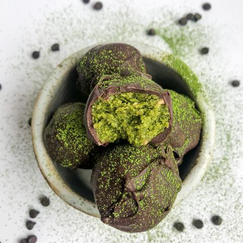 5-Ingredient Chocolate Matcha Truffles