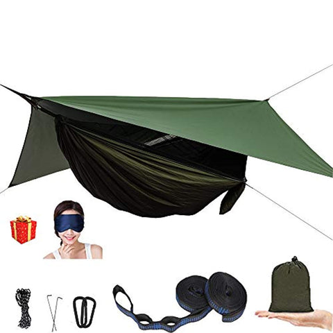 AEETT Camping Hammock with Mosquito Net and Rain Fly - Prevent4life