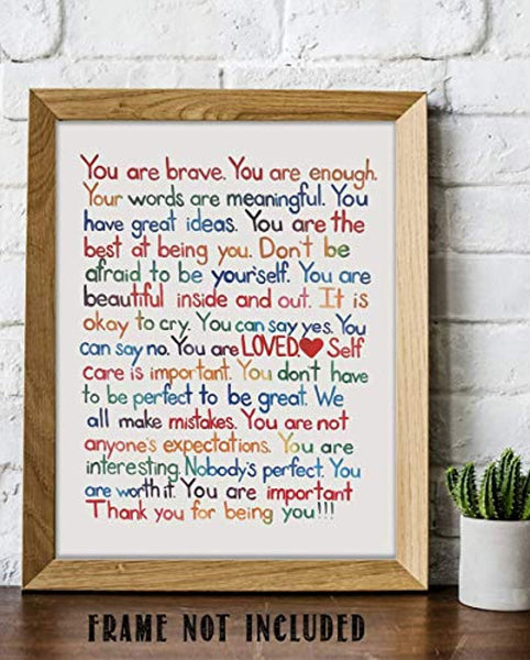 """You Are Enough-Loved-Important""- Inspirational Wall Art Print- 8 x 10"""